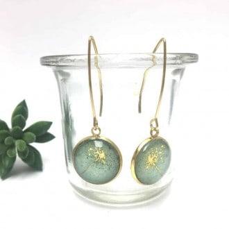 Boucles d'oreilles fleur de pissenlit sur fond aquarelle vert d'eau