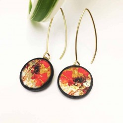 Slate earrings with an autumn ginkgo leaf theme