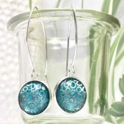 Boucles d'oreilles pendantes cercles argents et aquarelle turquoise