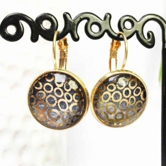 Hand-painted lever-back earrings in rose gold theme: circles and watercolor grey