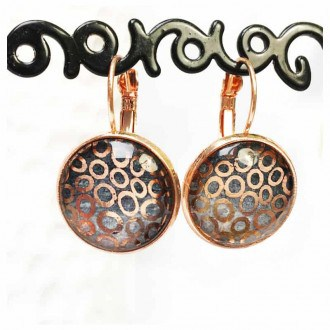 "Boucles d'oreilles dormeuses or rose et or : collection Géodes ""Cercles"""