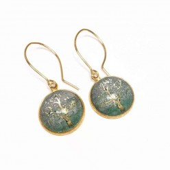 Dangle earrings with a gold foil tree of life theme