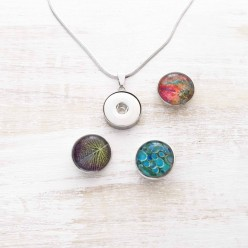SET: Interchangeable stainless steel snap button necklace with stainless steel chain and its 3 buttons