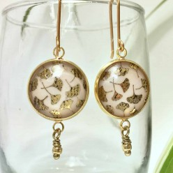 Ginkgo leaf gold leaf earrings in gold and ivory