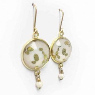 Boucles d'oreilles thème pierres en or, or rose ou argent