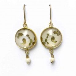 "Dangles ""stone"" earrings in gold, silver or pink gold"