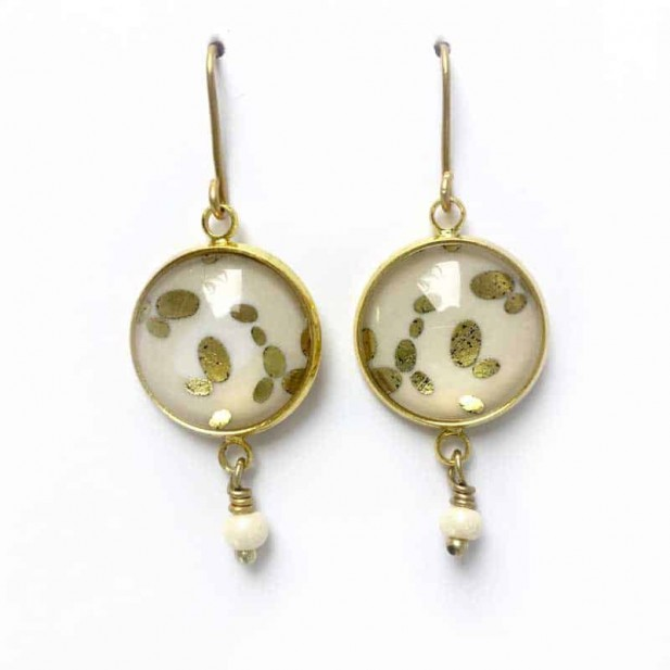 """Dangles """"stone"""" earrings in gold, silver or pink gold"""