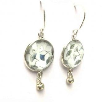 Boucles d'oreilles pendantes feuille de ginkgo en feuille de métal argent