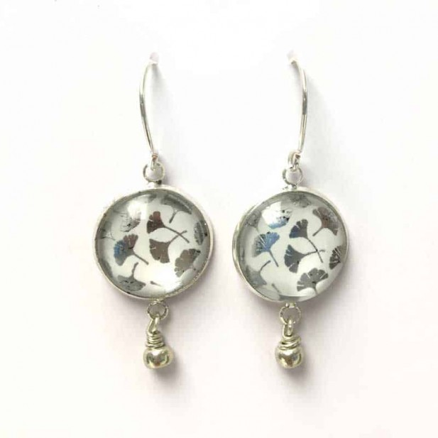 Dangle earring with Ginkgo biloba leaf theme in silver, gold or rose gold