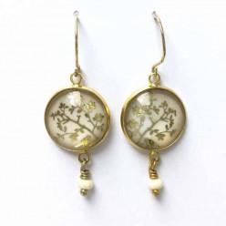 Boucles d'oreilles oiseaux dans les branches tout or, argent ou or rose