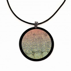 "Slate necklace with the theme Geodes ""Winter Lake"" in sage and pale orange hues and metallic gold specks"