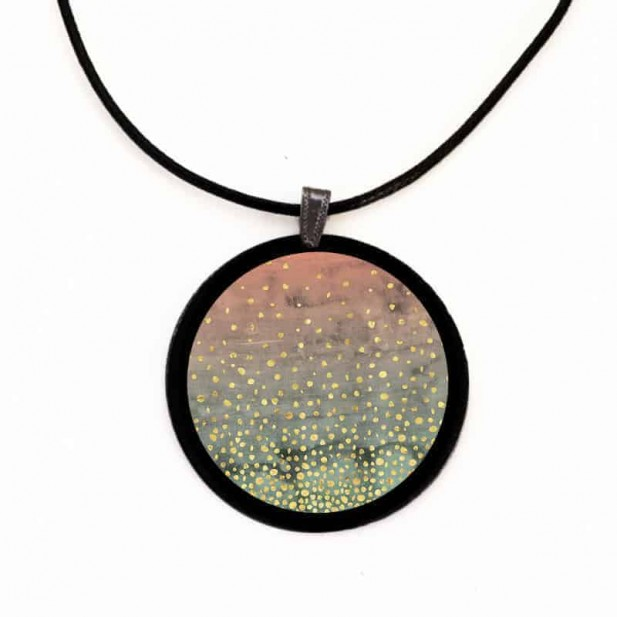 """Slate necklace with the theme Geodes """"Winter Lake"""""""