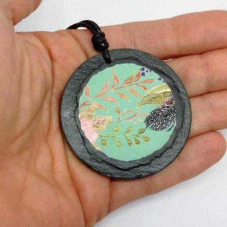 Slate necklace with boho wate-rgreen theme with feathers and branches