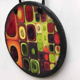 'Fruit Juice' slate necklace - Klimt influence