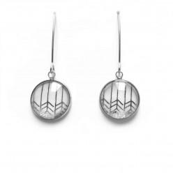 Boucles d'oreilles pendantes motif chevrons en argent