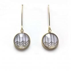 Boucles d'oreilles pendantes motif chevrons en or ou argent