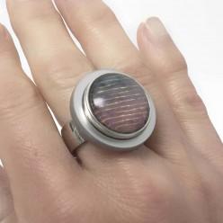Bague en acier inoxydable pour boutons interchangeables avec plateau gris métalisé