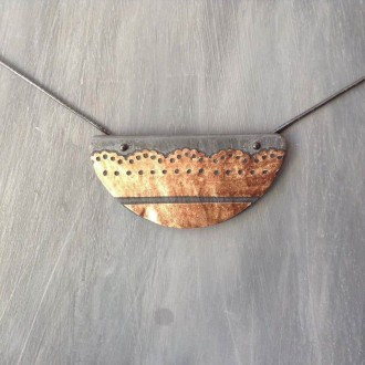 Half moon slate necklace with copper lace decor overlay