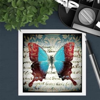 Square gift card featuring a turquoise butterfly theme