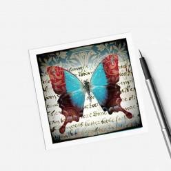 Carte carrée thème Papillon turquoise et rouge