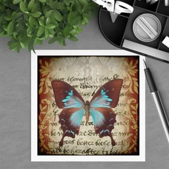 Square gift card featuring a sepia butterfly theme