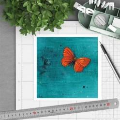 Carte carrée thème Papillon orange sur fond turquoise