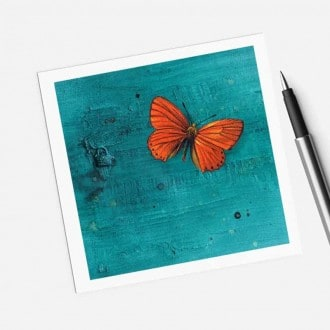Square gift card featuring an orange butterfly on turquoise background theme