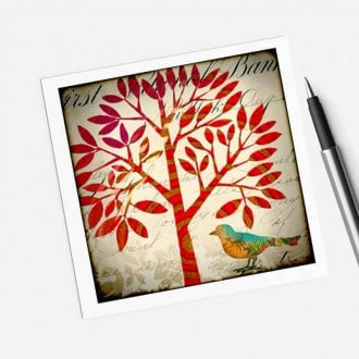 Square gift card featuring a red tree of life theme