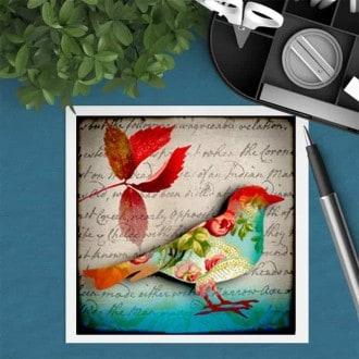 Square gift card featuring an autumn bird theme