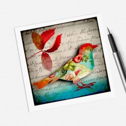 Square gift card featuring an autumn bird theme
