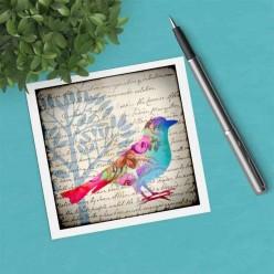 Carte carrée thème Oiseau Pastel