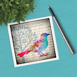 Square gift card featuring a floral pastel-color bird theme