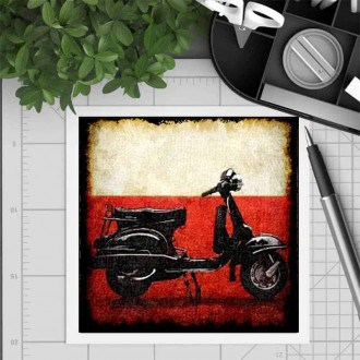 Square gift card featuring an vintage Vespa theme
