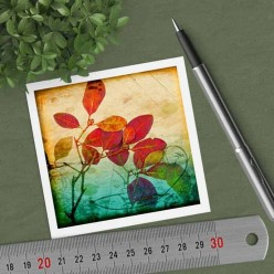 Square gift card featuring an Herbarium red leaves theme