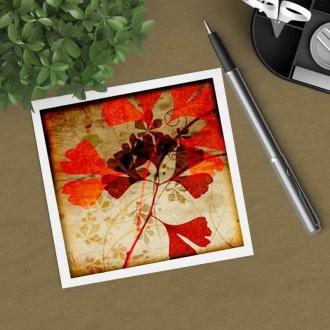 Square gift card featuring an Herbarium Autumn Ginkgo leaf theme