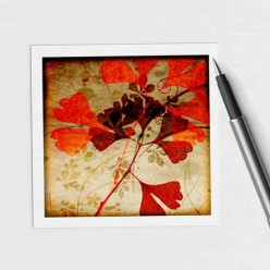 Carte carrée thème Herbarium Ginkgo d'Automne
