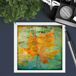 Square gift card featuring an Herbarium yellow leaf theme