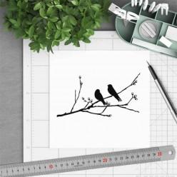 Carte carrée thème Oiseaux sur la branche en noir et blanc