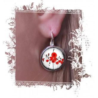 Boucles d'oreilles fantaisie format dormeuses avec theme coquelicots naïfs