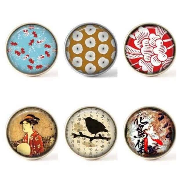 Lot de boutons interchangeables - Collection Japonisante