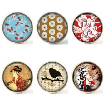 Set of 6 buttons - asian themed