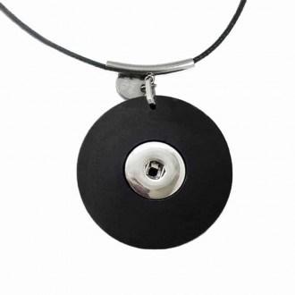 Collier personnalisable pour cabochon / bouton clipsable en gris argenté: collier seul