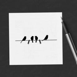 Carte carrée thème Oiseaux sur la corde à linge...