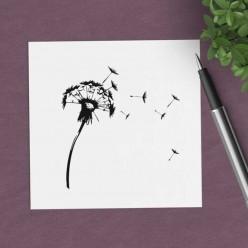 Carte carrée thème Pissenlit naïf en noir et blanc