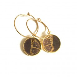 Butterfly Wing themed 16mm gold Hoop earrings