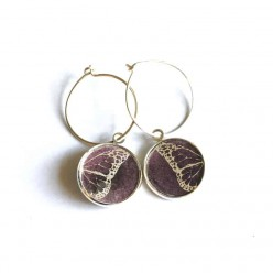 Butterfly Wing themed 16mm Silver Loop earrings