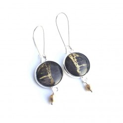 Deep chocolate brown and gold butterfly dangle earrings in silver frame with gold bead