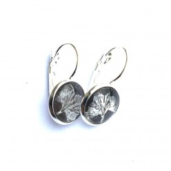 Silver and taupe Ginkgo Leaf themed 12mm lever-back earrings