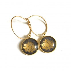 Lotus Flower themed Gold 16mm stainless steel hoops