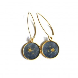 Boucles pendantes en acier inoxydable or 16 mm sur le thème de la voie lactée